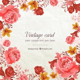 Tarjeta vintage con flores