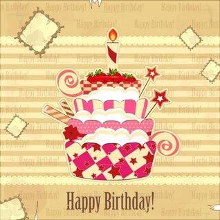 tarjetas de cumpleaños pegatinas de fondo vector de material