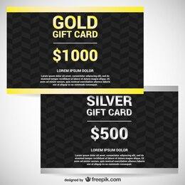 Tarjetas de regalo doradas y plateadas