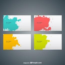 Tarjetas de visita con pintura de colores