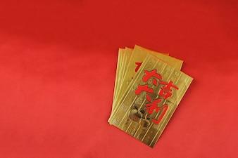 Tarjetas doradas para celebrar el año chino