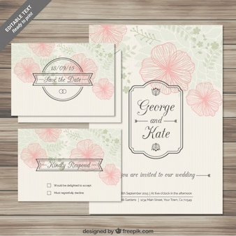 Tarjetas florales de invitación de boda en estilo esbozado