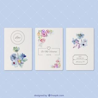 Tarjetas románticas con flores de la acuarela