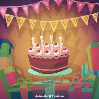 Tarta de cumpleaños en estilo de dibujos animados