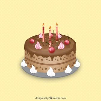 Tarta de cumpleaños hecha con chocolate