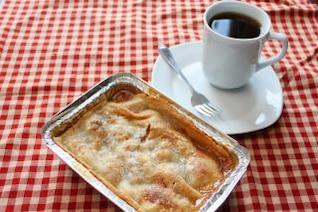tarta de manzana y café peachpie