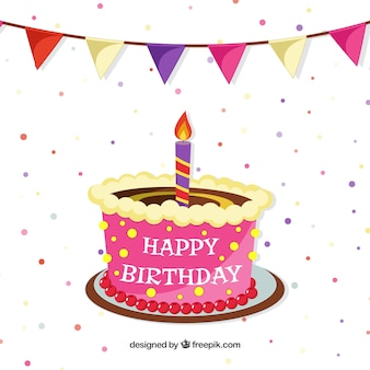 Tarta del feliz cumpleaños