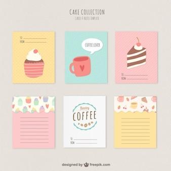 Tartas lindas y tarjetas de café