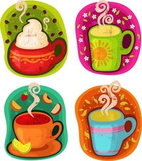 taza de café bebida caliente o té de ilustración vectorial