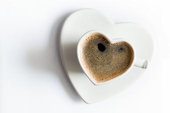 Taza de café en forma de corazón