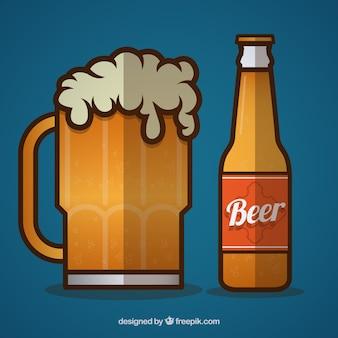 Taza de cerveza y una botella