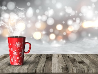 Taza humeante de navidad contra un fondo bokeh