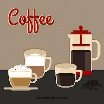 Tazas de café y cafetera de café