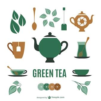 Colección de elementos gráficos de té