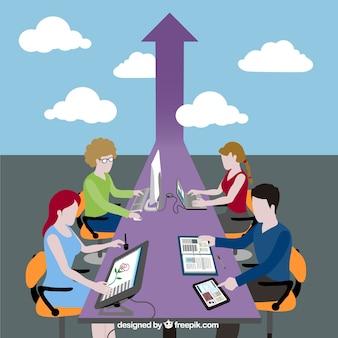 Concepto de progreso del trabajo en equipo