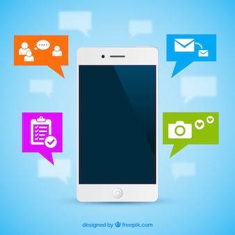 Teléfono móvil con iconos