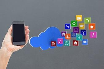 Teléfono móvil con nube de iconos de aplicaciones