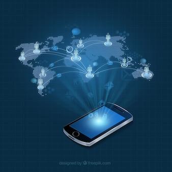 Teléfono móvil con un mapa del mundo infografía