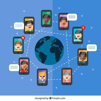 Teléfono móvil concepto de red