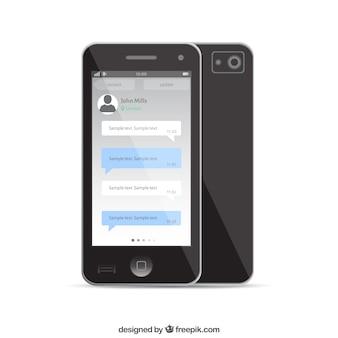 Teléfono móvil plantilla de chat