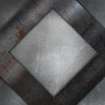 Textura metálica grunge con un cuadrado