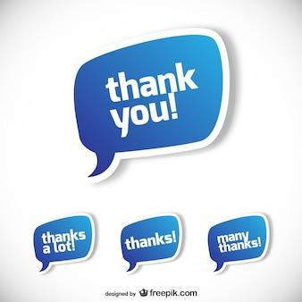 Bocadillos de texto de agradecimiento
