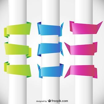 Banners estilo origami vacíos de colores