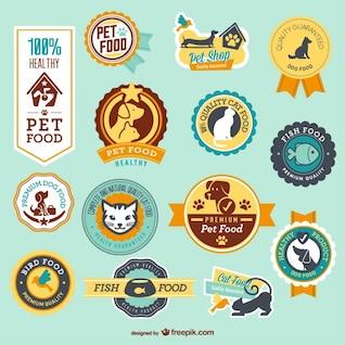 Tienda de mascotas insignias vectoriales
