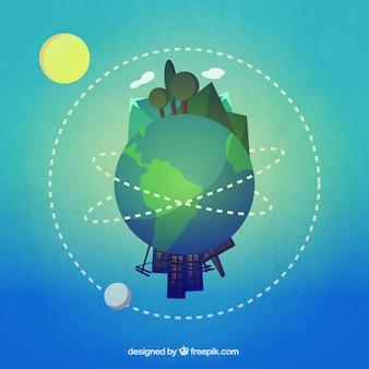 Tierra con partes urbanas y rurales