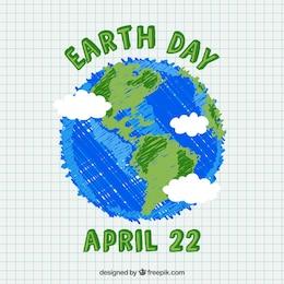 Tierra dibujada a mano para el día de la tierra