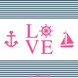 Tipografía de amor con adornos náuticos