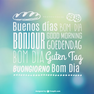 Tipografía de buenos días en varios idiomas
