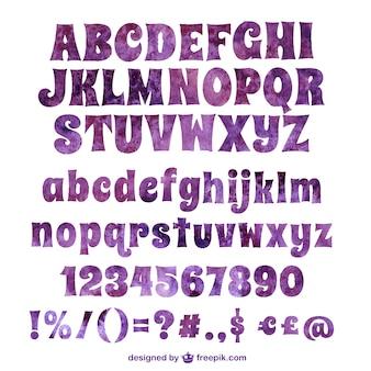 Tipografía púrpura de acuarela
