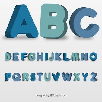 Tipografía redonda en estilo 3d