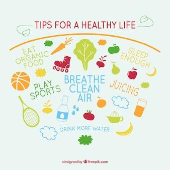 Consejos para una vida saludable vector