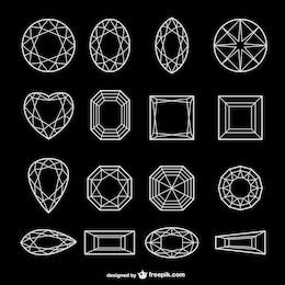 todo tipo de diamante de la línea de arte vectorial