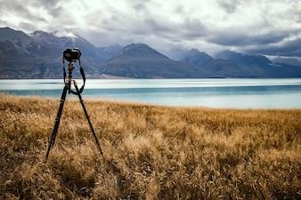 Tomando fotos del lago