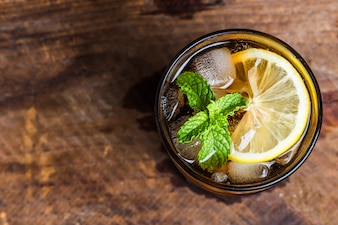 Top view of soda with mint