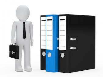 Trabajador con archivadores de diferentes colores
