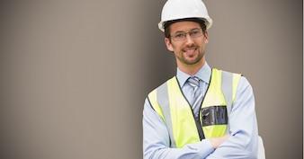 Trabajador de la mano feliz presentación generada digitalmente