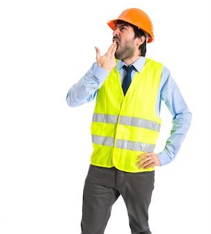 Trabajador, hacer, suicidio, gesto