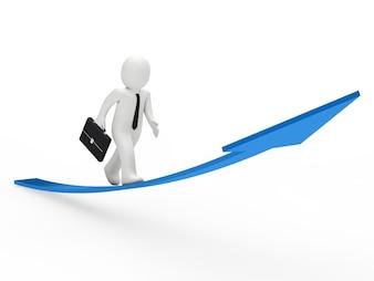 Trabajador motivado caminando a lo largo de una flecha ascendente