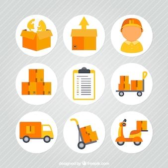 Transporte y entrega iconos