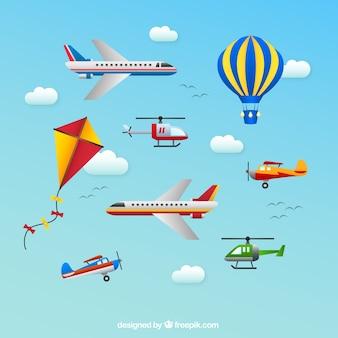 Transportes aéreos iconos