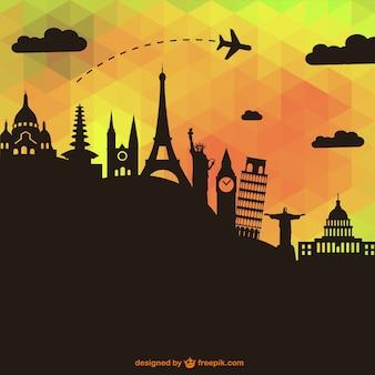 Vector de viajes con siluetas de monumentos