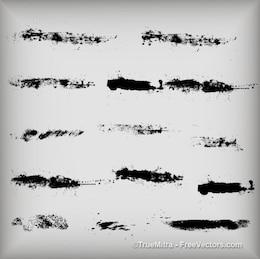 Trazos de tinta sucio textura pincel negro acuarela