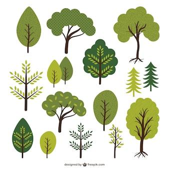 Colección de árboles y hojas