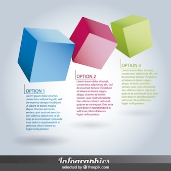 Tres coloridos Infografía diagonales pasos en forma de cubo