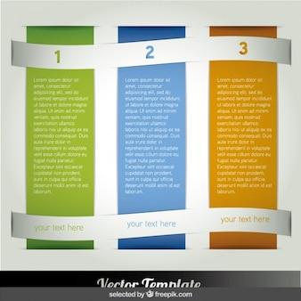 Tres infografía columna con banderas onduladas