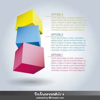 Tres Infografía pasos de colores en forma de cubo